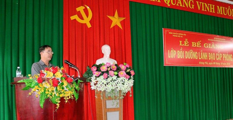 Ông Mai Đình Thọ - Phó bí thư Huyện Krông Pắk phát biểu tại buổi lễ
