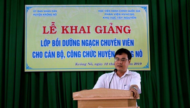 Ông Trương Văn Tùng – Trưởng Phòng Nội Vụ huyện Krông Nô phát biểu tại buổi lễ