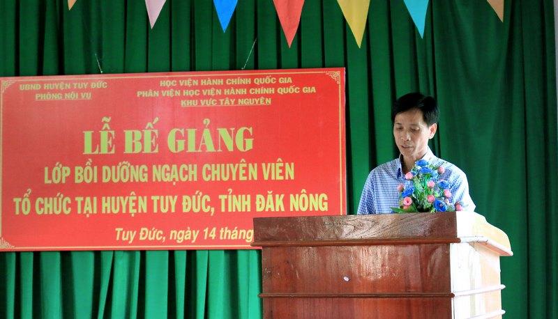 Ông Phạm Đình Trọng - Đại diện học viên phát biểu tại buổi lễ