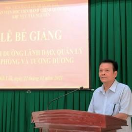 Ông Kiều Thanh Hà - Đại diện cho học viên của lớp phát biểu tại buổi lễ