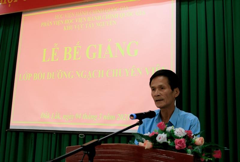 Ông Phan Thanh Pha - Đại diện cho học viên phát biểu tại buổi lễ
