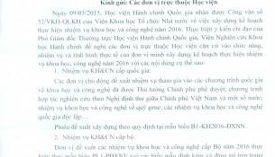 Thông báo VV Xây dựng KH thực hiện NVKH và CN năm 2016 của HVHCQG
