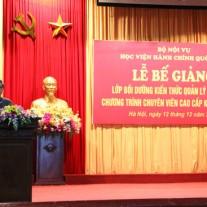 1.PGS.TS. Lưu Kiếm Thanh - Uỷ viên Ban chấp hành Đảng uỷ - Phó Giám đốc Học viện phát biểu tại Lễ bế giảng