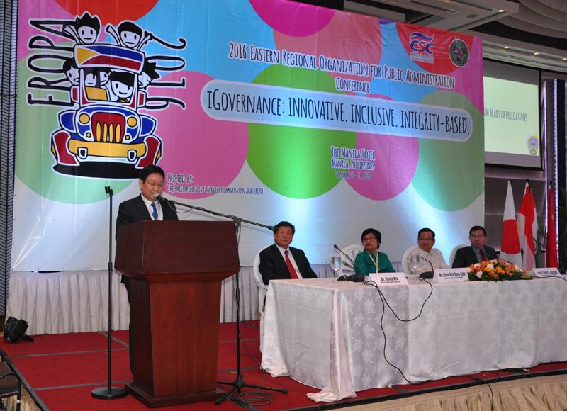 TS. Lê Như Thanh, Phó Giám đốc Thường trực Hội nghị phát biểu tại lễ khai mạc Hội nghị EROPA 2016