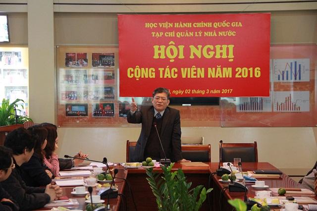 PGS.TS. Lưu Kiếm Thanh - Phó Giám đốc Học viện, Tổng Biên tập Tạp chí QLNN phát biểu khai mạc Hội nghị
