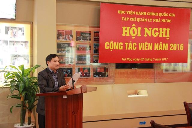 ThS. Nguyễn Quang Vinh - Phó Tổng Biên tập trình bày Báo cáo công tác xuất bản và công tác cộng tác viên của Tạp chí QLNN năm 2016.
