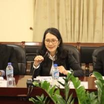Bà Trần Thị Lan Hương, trưởng đoàn công tác của Ngân hàng Thế giới phát biểu