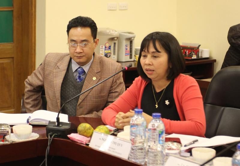 ThS. Nguyễn Thị Quy, Trưởng Phòng Kế hoạch và Tài chính, phát biểu tại buổi làm việc