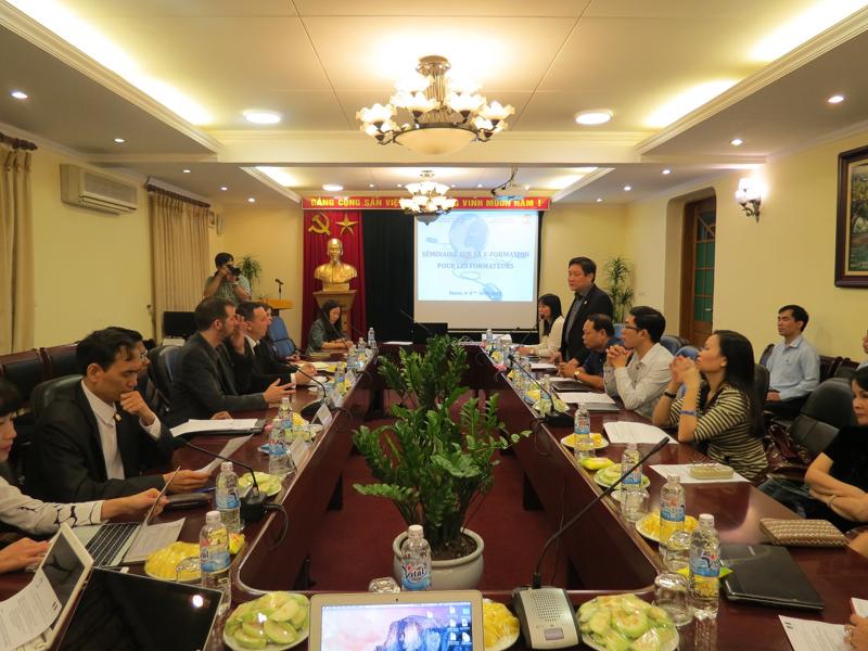 TS. Lê Như Thanh, Phó Giám đốc Thường trực Học viện phát biểu tại  lễ khai giảng khóa tập huấn giảng viên