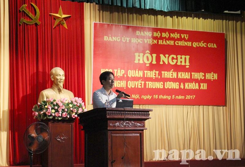 ThS. Nguyễn Tiếp Hiệp – Đảng ủy viên, Phó Trưởng Ban phụ trách Ban Tổ chức – Cán bộ tuyên bố lý do, giới thiệu đại biểu tham dự Hội nghị