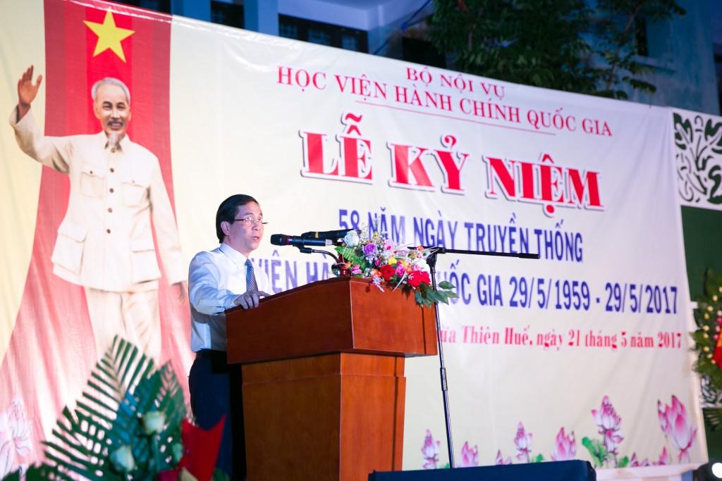 NGƯT. PGS.TS. Triệu Văn Cường – Thứ trưởng Bộ Nội vụ, phụ trách, điều hành Học viện Hành chính Quốc gia phát biểu tại lễ kỷ niệm.