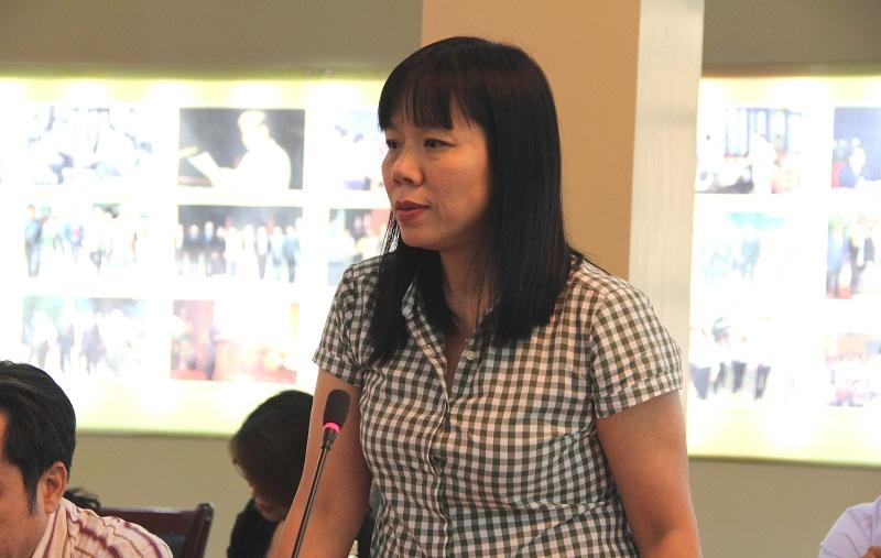 ThS. Phạm Thị Quỳnh Hoa - Trưởng Ban Hợp tác quốc tế báo cáo về hoạt động hợp tác quốc tế của Học viện