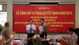 Đồng chí Lê Vĩnh Tân – Bộ trưởng Bộ Nội vụ phát biểu tại lễ  công bố và trao quyết định nghỉ hưu đối với PGS.TS. Nguyễn Trọng Điều