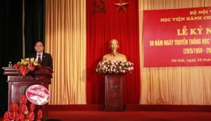 TS. Lê Như Thanh - Phó Giám đốc Thường trực Học viện ôn lại truyền thống 58 năm xây dựng và phát triển của Học viện