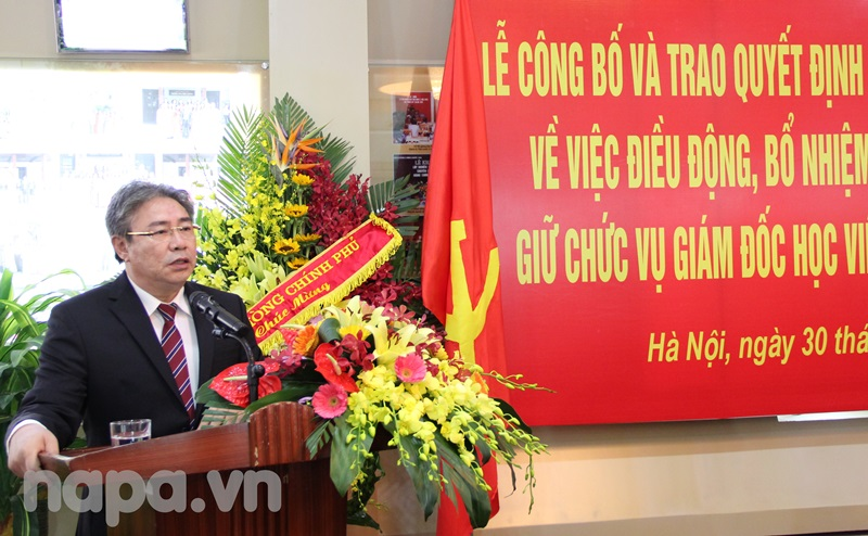 Tân Giám đốc Đặng Xuân Hoan phát biểu nhận nhiệm vụ