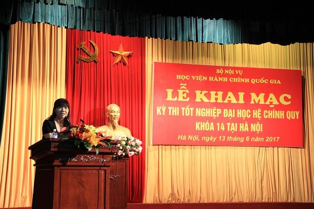 PGS.TS. Lê Thị Vân Hạnh phát biểu chỉ đạo kỳ thi