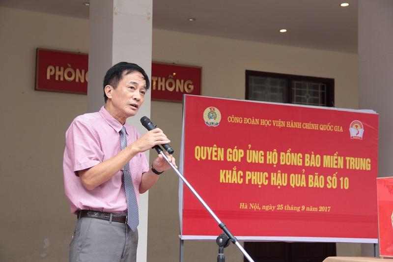 TS. Chu Xuân Khánh – Chủ tịch Công đoàn Học viện phát biểu khai mạc Lễ phát động