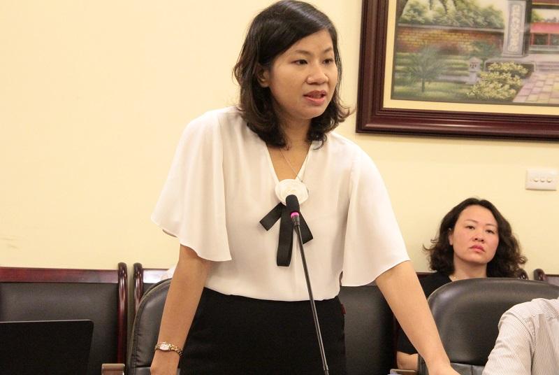 PGS.TS. Nguyễn Thị Thu Vân thay mặt Ban Thường vụ Đảng ủy Học viện phát biểu chỉ đạo Đại hội