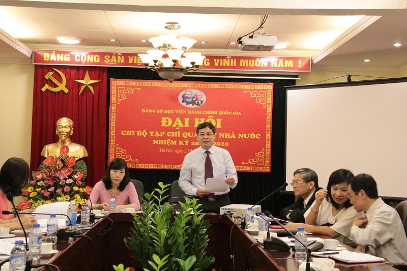 ThS. Nguyễn Quang Vinh – Bí thư Chi bộ Tạp chí nhiệm kỳ 2017 – 2020 phát biểu bế mạc Đại hội