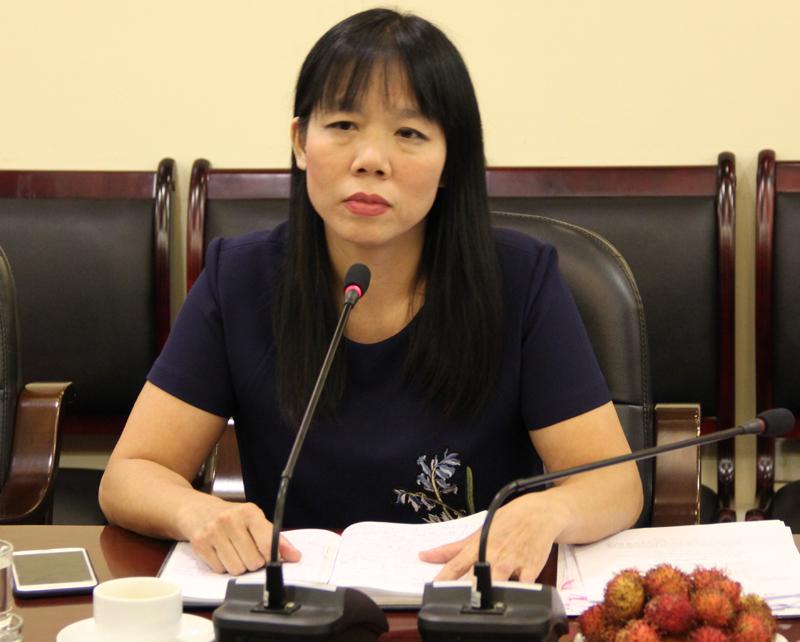 ThS. Phạm Thị Quỳnh Hoa, Trưởng Ban Hợp tác Quốc tế giới thiệu về các chương trình hợp tác trong đào tạo bồi dưỡng do Học viện thực hiện
