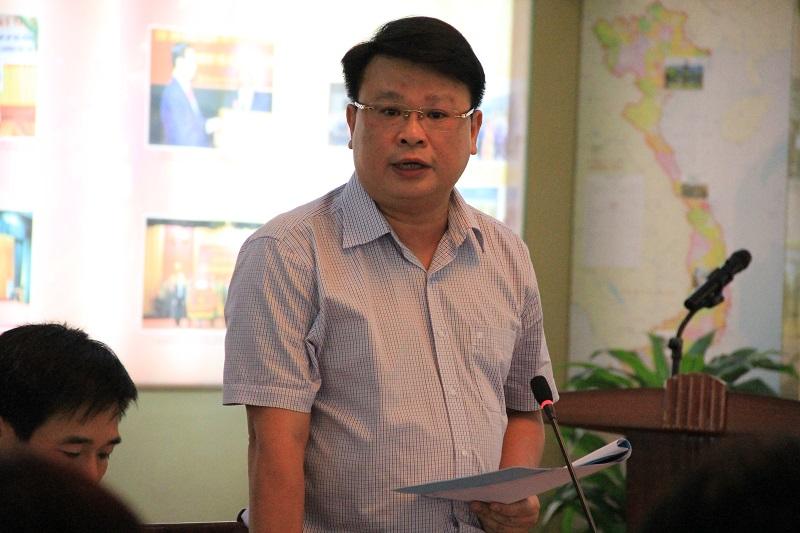 ThS. Bùi Huy Tùng – Chánh Văn phòng Học viện báo cáo kết quả công tác tháng 10 và các nhiệm vụ trọng tâm trong tháng 11 năm 2017