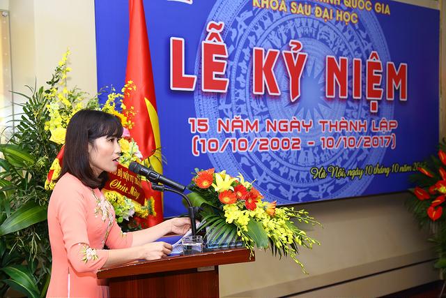 TS. Hoàng Mai - Phó Trưởng khoa Sau đại học phát biểu tại buổi lễ