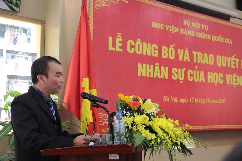ThS. Hà Thành Đê – Phó Trưởng bộ môn Thể chế nhà nước - Khoa Nhà nước và Pháp luật đại diện cho các cán bộ, viên chức được bổ nhiệm phát biểu cảm ơn lãnh đạo Học viện