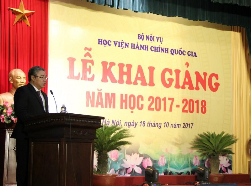 TS. Đặng Xuân Hoan - Giám đốc Học viện đọc diễn văn khai giảng năm học mới 2017 - 2018