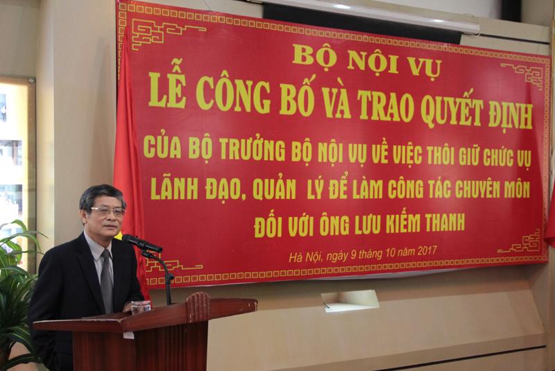 PGS.TS. Lưu Kiếm Thanh phát biểu cảm tưởng tại buổi Lễ