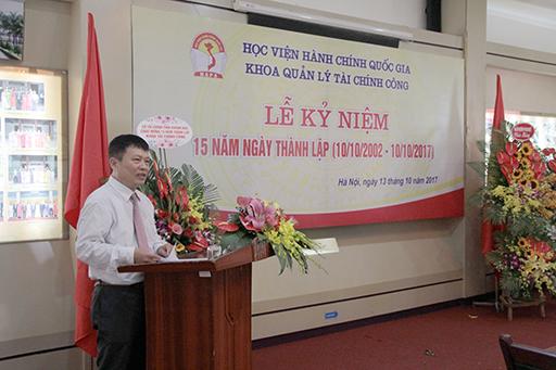 TS. Nguyễn Ngọc Thao khai mạc lễ kỷ niệm 15 năm ngày thành lập Khoa Quản lý tài chính công