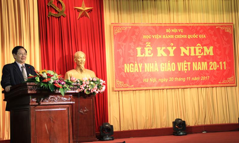 Bộ trưởng Bộ Nội vụ Lê Vĩnh Tân phát biểu chúc mừng tại buổi Lễ