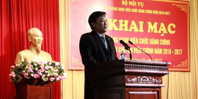 Đồng chí Nguyễn Duy Thăng - Thứ trưởng Bộ Nội vụ phát biểu tại buổi Lễ