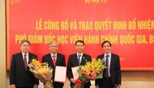 Thứ trưởng Bộ Nội vụ Triệu Văn Cường thay mặt Lãnh đạo Bộ trao Quyết định và tặng hoa chúc mừng 02 Tân Phó Giám đốc Học viện