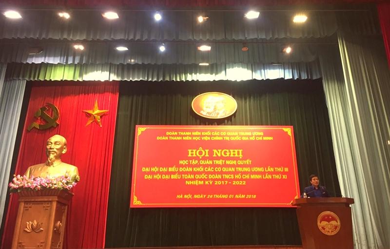 Đồng chí Nguyễn Hữu Ngọc phổ biến, quán triệt Nghị quyết Đại hội Đại biểu Đoàn Khối các cơ quan Trung ương lần thứ III