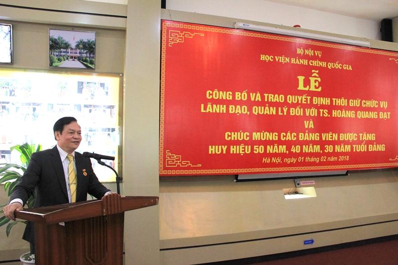 Đồng chí Hoàng Quang Đạt phát biểu tại buổi Lễ