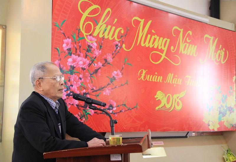 GS.TS. Lương Trọng Yêm – Phó Chủ tịch Hội Cựu giáo chức Học viện phát biểu tại buổi gặp mặt