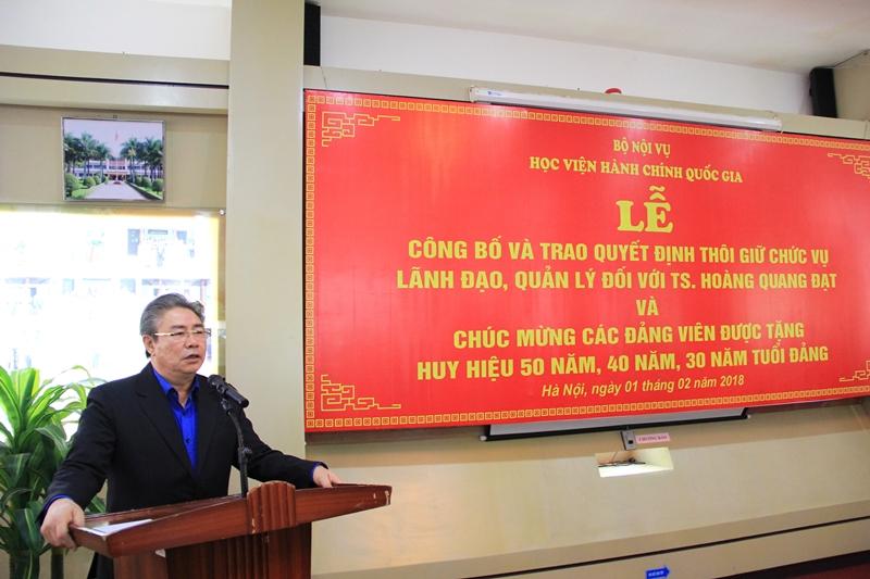 Đồng chí Đặng Xuân Hoan phát biểu tại buổi Lễ