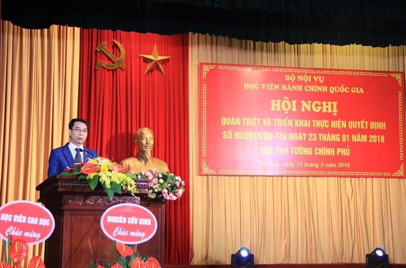 PGS.TS. Lương Thanh Cường – Phó Giám đốc Học viện phát biểu ghi nhận các ý kiến góp ý tại Hội nghị