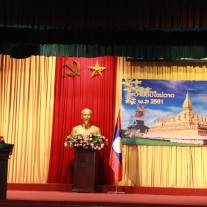 PGS.TS Lương Thanh Cường, Phó Giám đốc Học viện Hành chính Quốc gia phát biểu chúc mừng các lưu học  sinh Lào nhân dịp Tết cổ truyền Bun-pi-may 2018