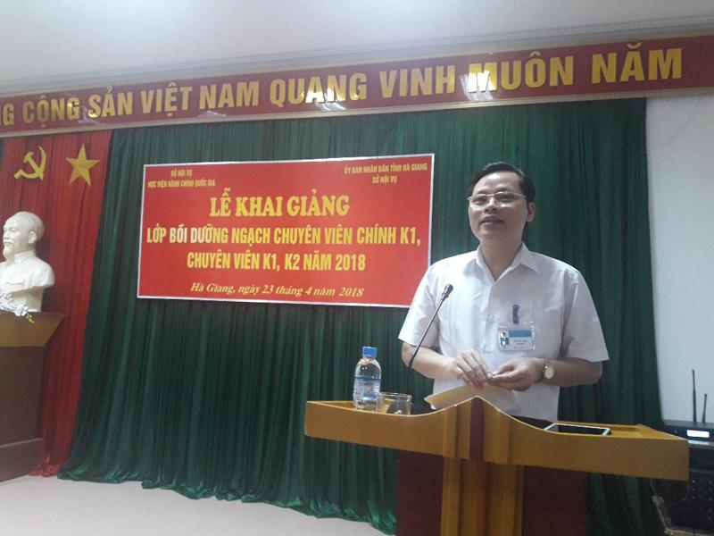 Ông Bùi Văn Tuân, Giám đốc Sở Nội vụ Hà Giang phát biểu tại buổi lễ