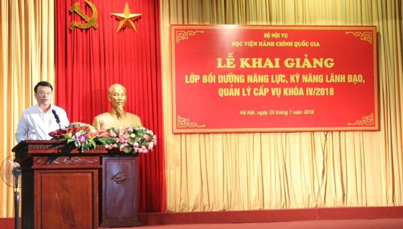 ThS. Bùi Huy Tùng – Đảng ủy viên, Chánh Văn phòng Học viện kiêm nhiệm phụ trách, điều hành Ban Quản lý bồi dưỡng phát biểu tại buổi lễ