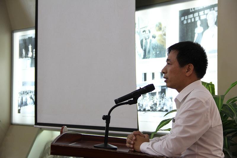 ThS. Nguyễn Tiến Hiệp đại diện cho các đồng chí được bổ nhiệm phát biểu cảm ơn Đảng ủy, Ban Giám đốc Học viện