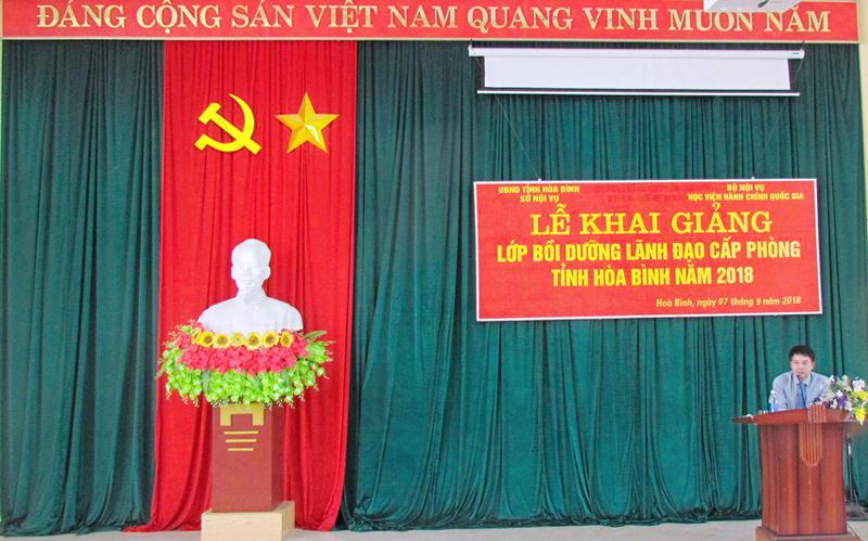 ThS. Tống Đăng Hưng, Phó Trưởng ban, Ban Quản lý bồi dưỡng, Học viện  Hành chính Quốc gia phát biểu khai mạc