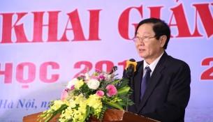 Bộ trưởng Bộ Nội vụ Lê Vĩnh Tân phát biểu tại Lễ khai giảng