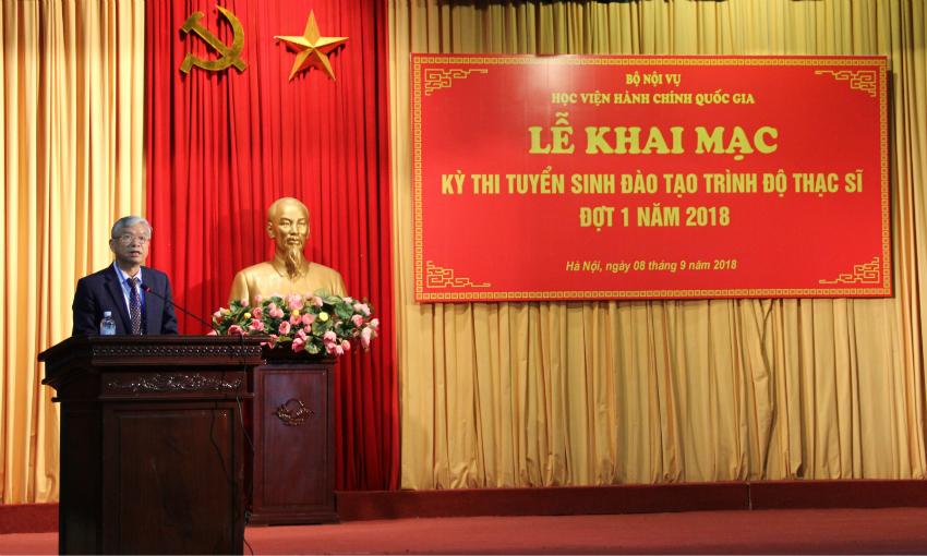 NGƯT.TS. Vũ Thanh Xuân – Phó Giám đốc Học viện phát biểu khai mạc kỳ thi tuyển sinh
