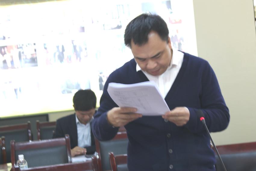 PGS. TS. Nguyễn Quốc Sửu – Trưởng khoa NN – PL và Lý luận cơ sở báo cáo kết quả khảo sát