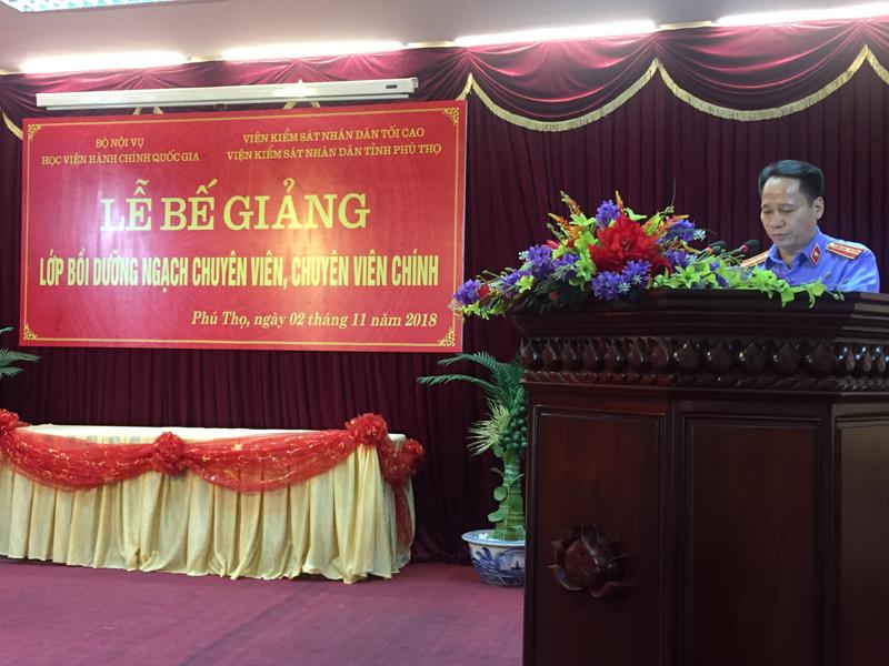 Đ/c Đỗ Đình Chữ – Tỉnh ủy viên, Phó Viện trưởng, Viện Kiểm sát nhân dân tỉnh Phú Thọ phát biểu tại buổi Lễ