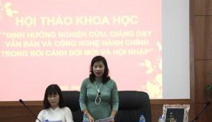 PGS.TS. Nguyễn Thị Thu Vân phát biểu kết luận tại Hội thảo