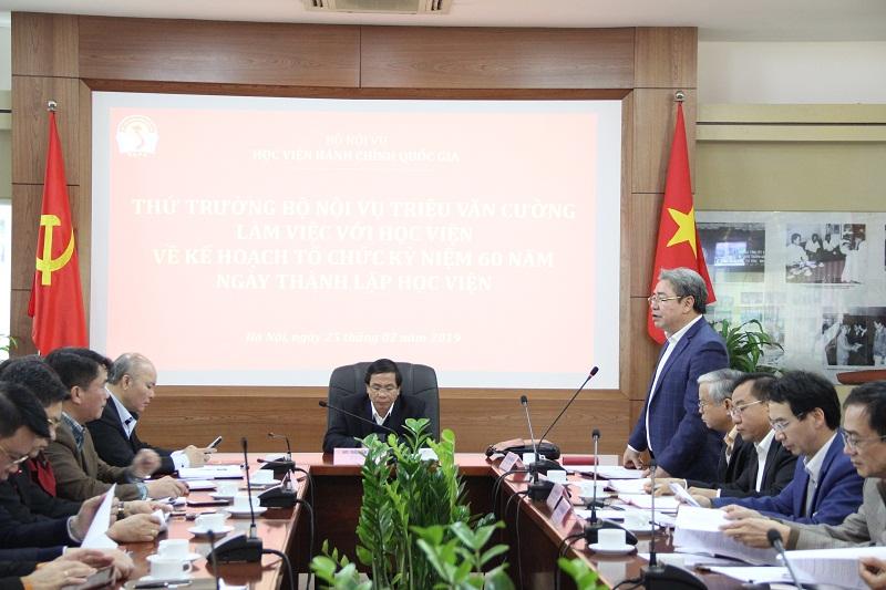 TS. Đặng Xuân Hoan – Bí thư Đảng ủy, Giám đốc Học viện phát biểu tại buổi làm việc
