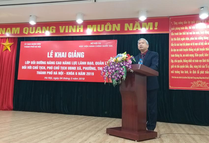 NGƯT.TS. Vũ Thanh Xuân, Phó Bí thư Đảng ủy, Phó Giám đốc Học viện Hành chính Quốc gia phát biểu tại buổi Lễ